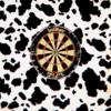 The dartboard that temporarily replaced the damaged pool table.
